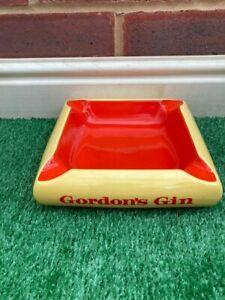Vintage Gordans Gin Pub Ashtray Ceramic By Carlton Ware England Yellow & Orange