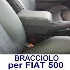 Bracciolo Premium per FIAT 500 - ECO PELLE NERA - MADE IN ITALY-appoggiagomito-@
