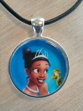 """TIANA"" Disney's The Princess and The Frog. Glass Pendant with Leather Necklace"