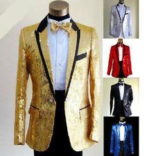 Mens Tuxedo Suit Gentleman One Button Bling Sequins Jacket Dance Coats Blazers