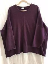 Eskandar One Size 1x 2x Handloomed Purple  Linen Tunic Sweater w/ Rolled Edges