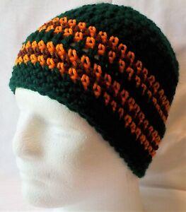 Green, Brown & Orange striped NEW Crocheted Beanie Hat Handmade Crochet Adults