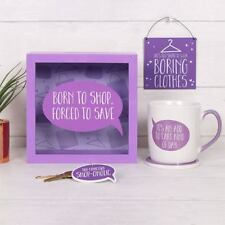 Born To Shop Forced To Save Square Purple Wooden Money Box Piggy Bank Fund Saver