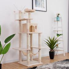 Large Cat Tree Multilevel Activity Tower Condo W/ Hammock Scratching Post Beige