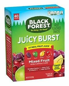 Black Forest Fruit Snacks Juicy Bursts Mixed Fruit 0.8-Ounce Bag Pack of 40