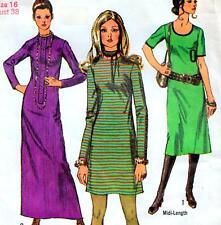 "EASY Vintage 70s DRESS Sewing Pattern Bust 38"" 97 cm Sz 14 RETRO Maxi MIDI Mini"