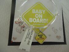 Alex and Ani BABY ON BOARD Bangle Bracelet Shiny Silver New W/ Tag Card & Box