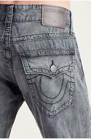 True Religion Men's Geno Slim Straight Leg Jeans w/ Flap Pockets in Washed Black