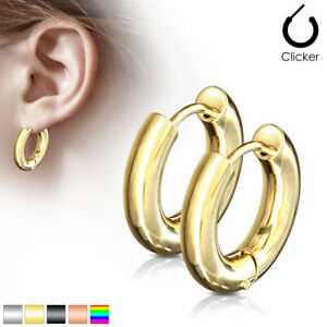 PAIR Stainless Steel Chunky Hoop Hinged Earrings 5mm Wide 20g Men or Women