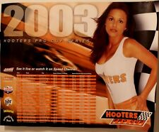 Vtg Hooters 2003 Pro Cup USAR Stock Car Racing Schedule Poster Sexy Man Cave