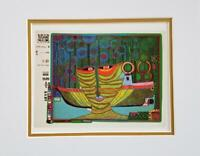Friedensreich Hundertwasser Columbus Rainy Day India Matted offset Litho 1986