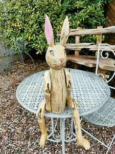 Wooden Hare Articulated Puppets - Distressed With Moving Joints  40cm Sitting