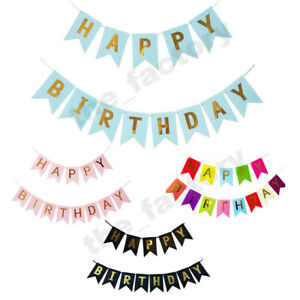 HAPPY BIRTHDAY DECORATION BUNTING BANNER HANGING PARTY GARLAND COLOUR THEME GOLD