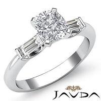 Fine Cushion Diamond Three Stone Engagement Ring GIA F SI1 14k White Gold 1.3 ct
