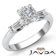 Fino Cojín Diamante Tres Piedras Anillo de Compromiso GIA F SI1 14k Oro Blanco