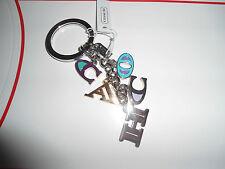 NEW Coach Multi Mix Letter Charm Keychain Key Fob NEW