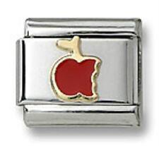 Apple Italian Charm Red Enamel 9mm Link Bracelet Stainless Steel Christmas Gifts