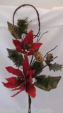 """RED VELVET & GOLD GLITTER POINSETTIA~30"""" XMAS FLOWER SPRAY*"""