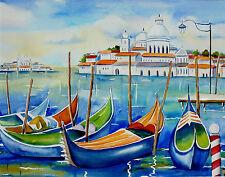 Venice Italy  Gondolas Watercolor Landscape Art Large Painting  Blue Signed