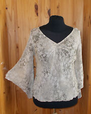 PRINCIPLES beige grey olive green floral chiffon 3/4 sleeve kaftan tunic top 16