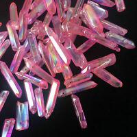 Rose quartz titanium rainbow aura lemurian crystal wand point healing 50g