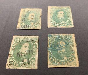 Scott# 1, Confederate, 5 Repaired Stamps