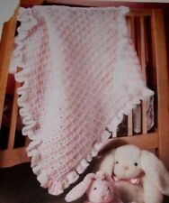 Baby Afghan Blanket with Ruffle Border ~ Chunky Crochet Pattern ~ Pretty Design