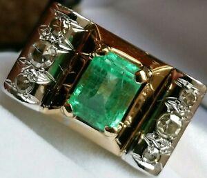 Stunning! Gold 11g Heavy Art Deco 3 Carat Emerald Diamond Engagement Dress Ring