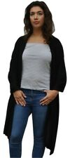 Ladies 100% Pure Cashmere Oversize Thick Knitted Shawl In Jet Black 70cmx200cm