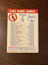 1965 St. Louis Cardinals Baseball Schedule Busch Bavarian Sponsor