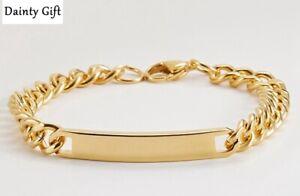 "Men /  Women Titanium Stainless Steel Vintage 7 mm Engrave Bar Chain Bracelet 8"""