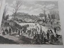 Gravure 1861 - Les Patineurs sur la petite rivière du bois de Boulogne