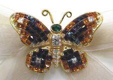 18KGold Plate Butterfly Swarovski Element Austrian Crystal Rhinestone Brooch Pin