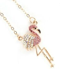 "Flamingo Beach Island Cruise Charm Crystal Tropical Necklace  18"""