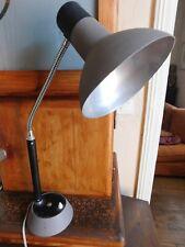 Grande lampe d'atelier ou de bureau vintage métal gris flexible chromé hr 62 cm