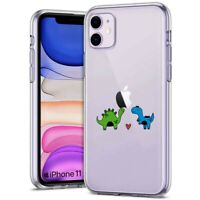 Thin Gel Protective Phone Case for Apple iPhone 11,XS,XR,8,Dinosaur Love Print