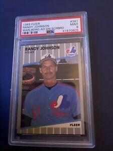 1989 RANDY JOHNSON Fleer MARLBORO Ad On Scoreboard Error #381 PSA 9 MINT .805