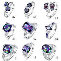 Free Jewelry Box Rainbow Topaz 100% S925 Sterling Silver Ring Size L½ N½ P½ R½