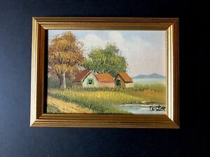 """5"""" x 7"""" Vintage Small Oil Painting of Houses Water Canvas on Wood Panel signed"""