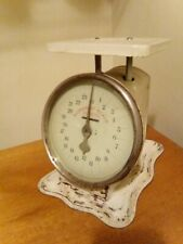 Antique Old nursery Scale 24lb  White with glass faceplate Primitive