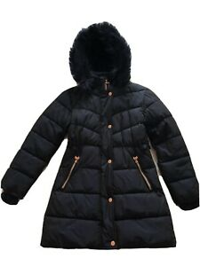 Girls Navy Ted Baker Coat (Age 11) with Faux Fur Hood