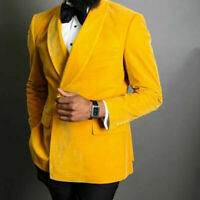 Yellow Velvet Men Suits Double Breasted Shawl Lapel Prom Wedding Groom Tuxedos