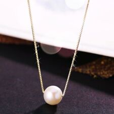 925 Sterling Silver+18K Gold Filled Single Freshwater Pearl Exquisite Necklace