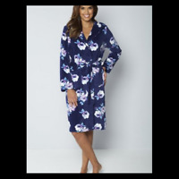 Ladies Womens Hooded Warm Super Soft Dressing Gown Robe -brand New size 8-26