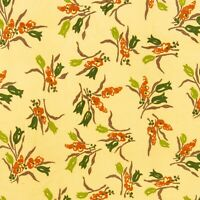 Vintage Corduroy Fabric Tan Green Floral Apparel Material 1.5 Yards