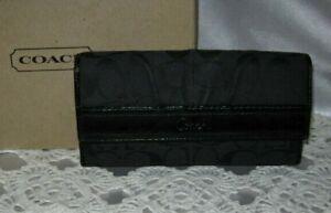 Coach Ashley Black Signature Black Patent Leather Trim Large Trifold Wallet