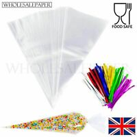 LARGE CLEAR CELLO CONE BAGS SWEET CANDY KID PARTY FAVOUR CELLOPHANE + TWIST TIES