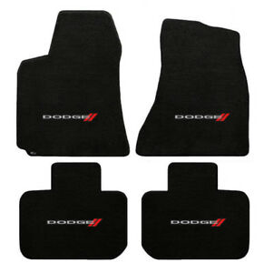 New! 2006-2018 Dodge Charger Black Carpet Floor Mats 4pc set w Embroidered Logo