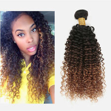 Brazilian 1B/4/30# Ombre 3Tone Kinky Curly 100% Human Virgin Hair Extension Weft