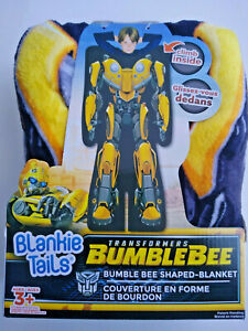 "Blankie Tails Transformers Bumble Bee Shaped Blanket 22""x60"" Ages 3+ Super Soft"
